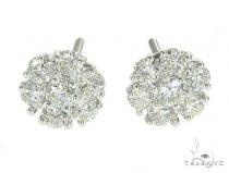 14K White Gold Diamond Cluster Stud Flower Earrings レディース ダイヤモンドイヤリング