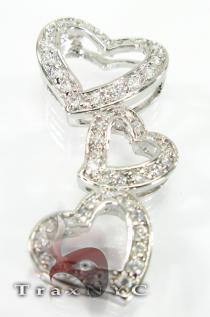 Open Heart Rhodium Sterling Silver Pendant Metal