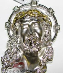White and Canary Jesus Pendant Diamond Jesus Piece