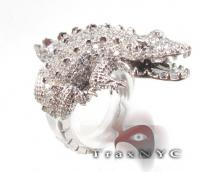 14K White Gold & Diamond Alligator Ring Mens Diamond Rings