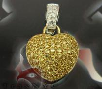 14K Gold Canary Sapphire Heart Charm Diamond Pendants