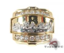 Mens CZ Last Supper Ring 2 Mens Gold Rings