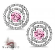 Ladies Pink Saucer Earrings Stone
