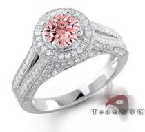 Ladies Pink Crown Ring Colored Diamond Rings