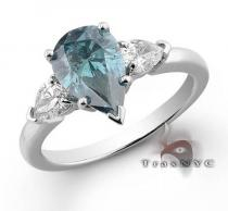 Ladies Blue Pear Ring Colored Diamond Rings