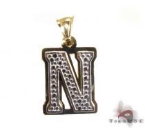 Initial N Pendant Metal