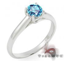 Ladies Sea Blue Solitaire Ring カラー ダイヤモンド リング