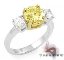 Two Tone Canary Centered Ring カラー ダイヤモンド リング