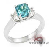 Ladies Blue Radiant Ring カラー ダイヤモンド リング