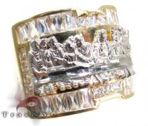 Mens CZ Last Supper Ring 4 Mens Gold Rings