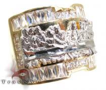 Mens CZ Last Supper Ring 4 Mens Gold Rings