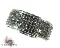 5 Row Black Diamond Ring 2 記念日用 ダイヤモンド リング
