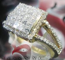 18K Yellow Gold Diamond Princess Ring Womens Diamond Rings