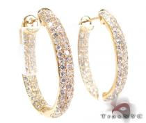 YG Three Row Medium Hoops 2 Stone