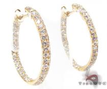 YG Two Row Diamond Hoops 2 Stone
