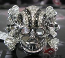 Black & White Diamond Skull Head Ring Mens Black Diamond Rings